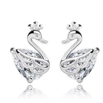 【米蘭精品】925純銀耳環耳針式鑲鑽耳飾皇冠天鵝