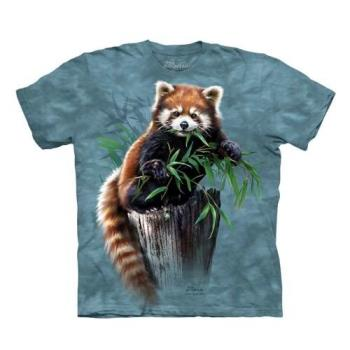 【摩達客】(預購)美國進口The Mountain  覓食小熊貓 純棉環保短袖T恤