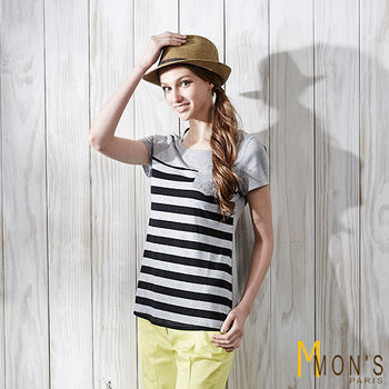 MONS 口袋造型設計條紋上衣