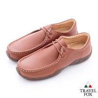 Travel Fox(男) 二孔式牛皮綁帶帆船鞋-棕