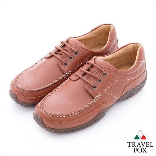 Travel Fox(男) 我的工作鞋 牛皮綁帶休閒鞋 - 活力棕