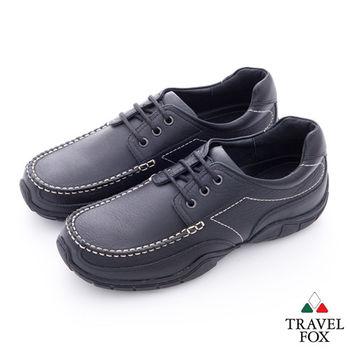 Travel Fox(男) 我的工作鞋 牛皮綁帶休閒鞋 - 經典黑