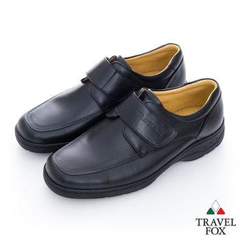 Travel Fox(男) 絕對品味 方楦舒適牛皮側扣紳士鞋 - 黑