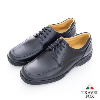 Travel Fox(男) 絕對品味 方楦舒適牛皮綁帶紳士鞋 - 黑