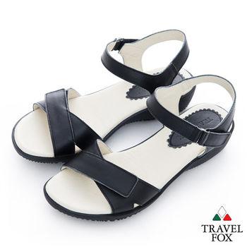 Travel Fox(女)Candy 一字雙黏帶涼鞋- 黑