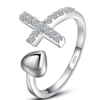 【米蘭精品】925純銀戒指上帝的愛純銀戒指精緻