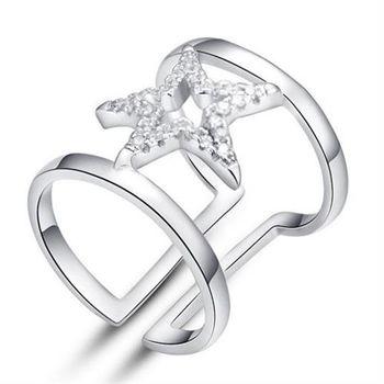 【米蘭精品】925純銀戒指星星鑲鑽純銀戒指典雅