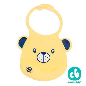 Creative Baby 創寶貝- 可收納式攜帶防水無毒矽膠學習圍兜-甜蜜小熊(Silicone Bids)