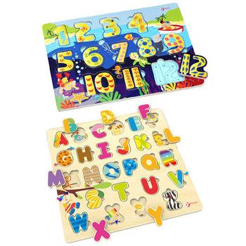 【Classic world 德國經典木玩客來喜】字母配對+數字配對拼圖超值組