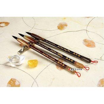 【傳家手工胎毛筆】 紫檀木、赤牛角經典全手工胎毛筆2支--胎毛筆