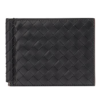 BOTTEGA VENETA 經典編織小羊皮軸釦萬用卡夾/短夾(黑色)