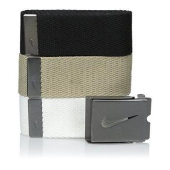 【Nike】2016金屬扣旋風標誌棉軟織帶黑卡其白3入組皮帶(預購)