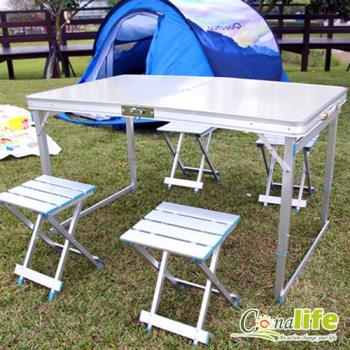 Conalife 可折疊收納鋁合金露營桌椅組(有傘孔)