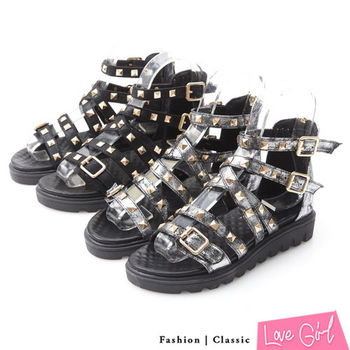 ☆Love Girl☆金屬感鉚釘搭扣內增高羅馬鞋