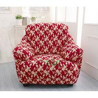 【Osun】一體成型防蹣彈性沙發套、沙發罩圖騰款1人座(富貴招財-紅金盞花)