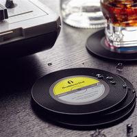 【HeadphoneDog】唱片造型隔熱杯墊/杯蓋(1入)-行動