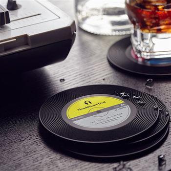 【HeadphoneDog】唱片造型隔熱 杯墊/杯蓋(1入)