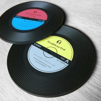 【HeadphoneDog】唱片造型隔熱 杯墊/杯蓋(一組2入)