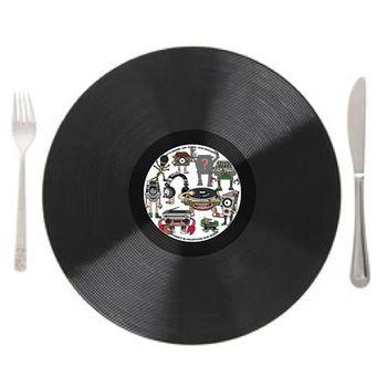 HeadphoneDog唱片造型桌墊/餐盤墊/點心墊(ㄧ入裝)-行動