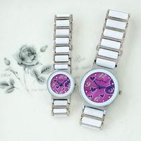 【Daniel Wang】甜美愛心-切割鏡面仿陶瓷女錶-神秘紫