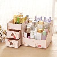 【香草花園】雙抽屜木質收納盒/化妝品收納盒/文具收納盒/DIY樂趣_和風花朵新款