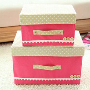 【香草花園】日系點點木質扣飾高質感粉彩蕾絲花邊收納箱/內衣收納/玩具收納 清新甜美款(大)