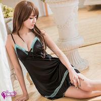 【Sexy Cynthia】性感睡衣 優雅黑色V領柔緞細肩帶睡衣