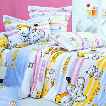 【FOCA-小貓快跑】加大精梳棉四件式鋪棉兩用被床包組