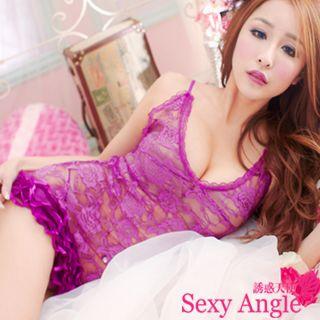 【誘惑天使】A153-1狂野誘惑 花邊網紗洋裝+丁字褲二件式性感睡衣組 (陶醉紫)