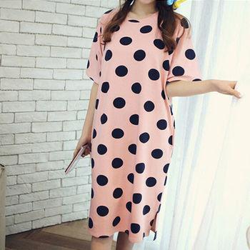 【美娜甜心】韓系香草點點精緻純棉透氣長版居家服/長裙睡衣