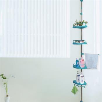 【LIFECODE】頂天立地浴室置物架+4置物盤+1毛巾桿-蒂芬妮藍【贈送-廚房防污貼紙】