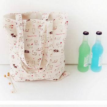 【香草花園】日系手作100%棉麻雙層拉鍊環保購物袋/手提袋/肩背袋_黑貓白貓