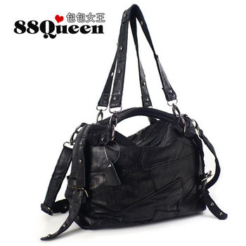 【88Queen包包女王】真皮 時尚羊皮鉚釘拼接多用包-多色可選