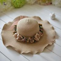 【美娜甜心】限量手工訂製款藤麻編織立體花飾草帽/寬邊遮陽帽_度假約會必備