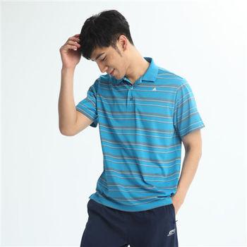 【FIVE UP】簡單條紋吸排POLO衫-淺藍