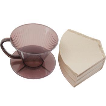 omax日製耐熱咖啡濾杯1入+無漂白咖啡濾紙160入(2包)