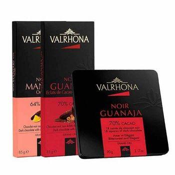 【VALRHONA】 創意系列85g(64%Manjari孟加里蜜橙+70% Guanaja瓜納拉可可碎片)+產地18片裝70%Guanaja鐵盒組合