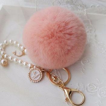 【美娜甜心】日系正品高質感珍珠獭兔毛球鑰匙圈/包包吊飾_棒棒糖珍珠氣質款