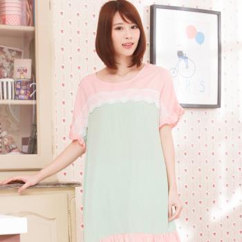 Wonderland ST7606清新芬芳嫘縈居家洋裝(粉)