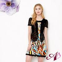 【A3】夏日繽紛-假兩件式修身洋裝