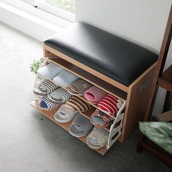 《舒適屋》無印風皮革椅墊防塵拉式穿鞋椅/鞋櫃(2色可選)