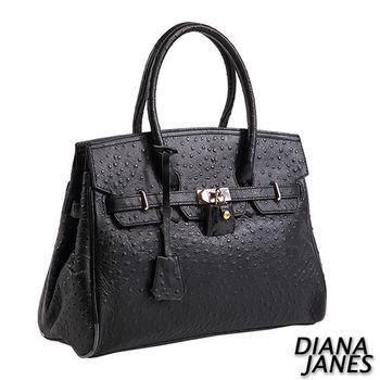 Diana Janes 牛皮 鴕鳥皮壓紋 經典鎖頭包