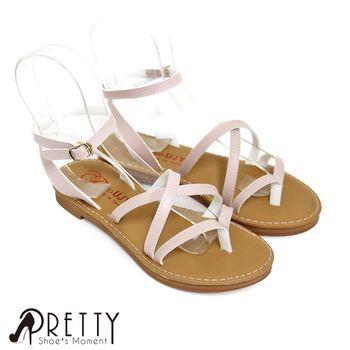 【Pretty】小清新百搭交叉編織繫踝羅馬涼鞋-桃紅色