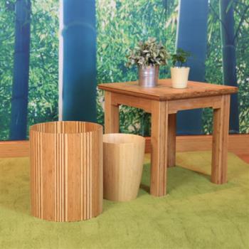 【時尚屋】Douceline竹製深淺配色質感垃圾桶RZ6-TR-1
