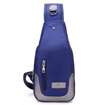 【Acorn*橡果】韓風牛津防水單肩斜背三角包胸包6520(藍色)
