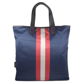 BALLY 6192465 經典LOGO尼龍條紋大購物袋.深藍