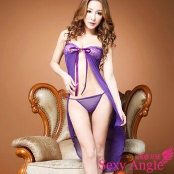 【誘惑天使】A188-1神秘誘惑 長裙開衩細肩洋裝+丁字褲 (浪漫紫)