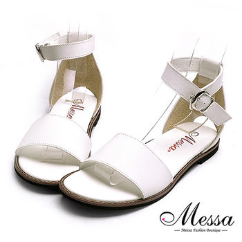 【Messa米莎專櫃女鞋】MIT後挖洞一字繫踝內真皮平底涼鞋-白色