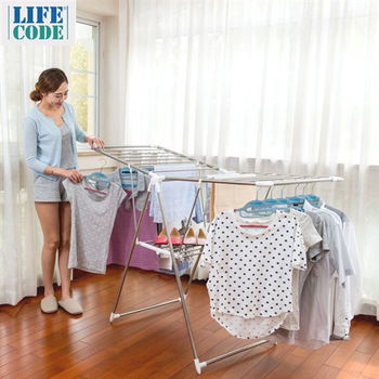【LIFECODE】韓式《大翼型》雙層曬衣架-行動