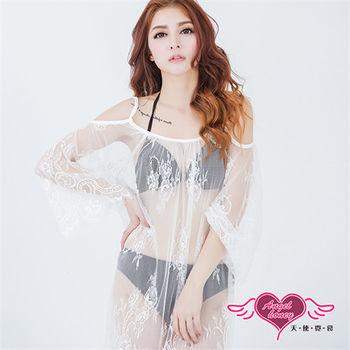 天使霓裳 罩衫 花朵網紗 長版網紗長袖外搭罩衫(白F)-DY0029